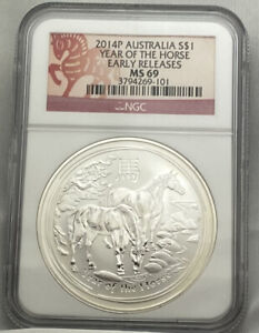 2014-P AUSTRALIA S$1 YEAR OF THE HORSE EARLY RELEASES NGC MS69 101