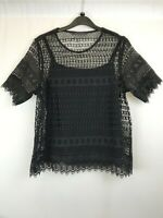 M&S ladies top 2-pieces black lace round neck short sleeve cotton size 12 003