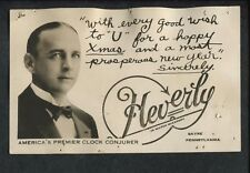 Signed Magic Magician Illusionist Heverly Watch Wizard Clock Conjurer Post Card