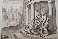 GRAVURE SUR CUIVRE SAINT PIERRE BOITEUX -BIBLE 1670 LEMAISTRE DE SACY (B237)
