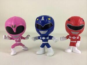 Saban's Power Rangers 25 Year Anniversary Burger King 3pc Lot Pink Red Blue 2018