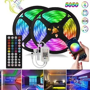 100ft 50ft LED Music Sync Bluetooth 5050 Strip Lights for Room Bars Lights US/EU