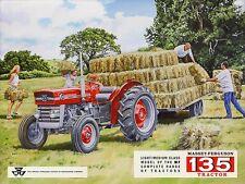 MASSEY FERGUSON 135 MF135 TRAILER AND HAY BALES OLD FARM SCENE METAL WALL SIGN