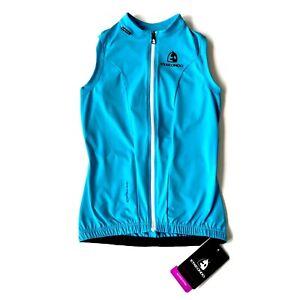 Etxeondo Womens S Entzuna Sleeveless Cycling Jersey Blue/Black Full Zip