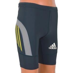 Adidas Adizero Sprint short Men's Techfit Tight Running Trousers Blue Grey