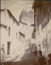 Espagne, Buñol, Une rue et le château, 1908, Vintage citrate print Vintage citra