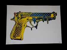 "Serigraphie Originale Death NYC  "" Blue & Yellow Gun ""  , Tirage 100 Ex  signée"