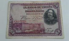 Usado - BILLETE DE 50 PESETAS BANCO DE ESPAÑA - VELAZQUEZ - 1928