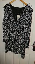 ZARA trf Collection Cream/Black Animal Print Long Sleeve Blouse - Size L New
