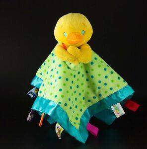 TAGGIES baby blanket cudding yellow duck green polka dots satin edge comforter