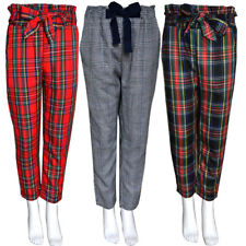 Girls Kids Tartan Checkered Capri Trousers Pants CHILDREN