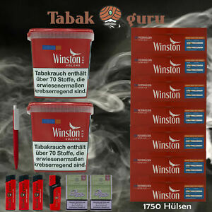 2x Winston Classic Red / Rot Giant Box 280g Volumentabak + 1750 Extra Hülsen