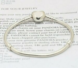 New Silver Starter Moments Bracelet Classic Love heart Clasp for European CHARMS