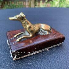 19th C. Georgian Era Antique Old Bronze Whippet Greyhound Dog Paperweight Award