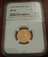 Peru 1966 ZBR Gold 1/2 Libra (Pound) NGC MS66