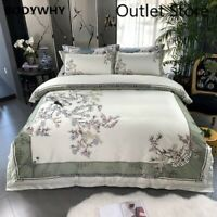 Birds Plant 800TC Egyptian Cotton Silky Cover Luxury Bedding Set Bed Sheet Set
