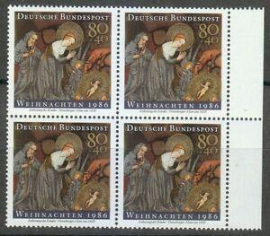 Germany 1986 MNH Mi 1303 Sc B651 Christmas.Infant Jesus ** Block of 4 **