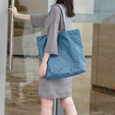 Vintage Folding Kraft Paper Canvas Tote Bags - Blue (LSG072734)