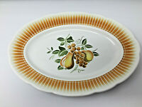 Badonviller Faience de France Pear and Grape Design Serving Plate 15 by 10 in