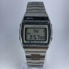 Vintage Seiko Mens A359-4010 Slver Tone Alarm Chronograph LCD Digital watch