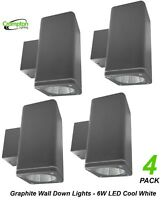 4 x Graphite Outdoor Exterior Fixed Wall Down Lights - 6W 240V LED IP44 Charcoal