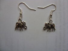 silver plated tibetan style elephant ear rings