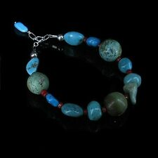 .925 Sterling Silver Natural Mixed Turquoise Nugget Red Coral Bracelet