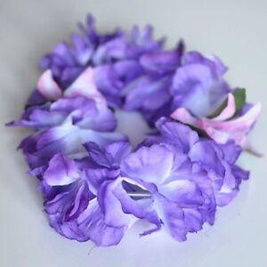 Premium Purple Hawaiian Crown Lei Headband Paradise Petunia with Orchids Boho