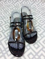 Womens Stuart Weitzman Leather Embellished Tortoise Shell Sandals Low Wedge Sz 7