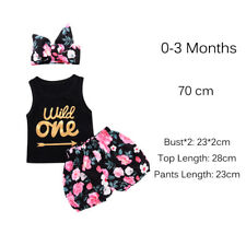 Baby Girls Summer Wild One Vest Tops Floral Shorts Pants Headband Outfits 0-3 Months