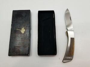 Vintage Gerber PK-2D Folding Liner Lock Wood Inlay Pocket Knife w/ Original Box