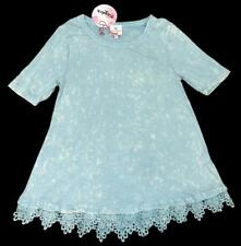 HAYDEN Girls Blue & White Speckled Lace Tunic Top Tee ~ Size 7-8 NWT kg