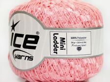 Pale Pink Mini Ladder Ribbon Yarn #58129 Ice Solid Color Not Metallic Ribbon 50g