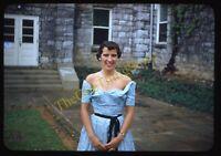 Woman Formal Dress Blue 1950s 35mm Slide Vtg Red Border Kodachrome Fashion
