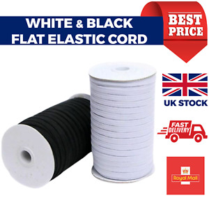 Flat WHITE Elastic BLACK Elastic Cord 5mm Sewing Elastic Face Mask Elastic Band