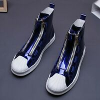 Mens High Top Short Ankle Boots Patent Leather Round Toe Zipper skateboard shoes