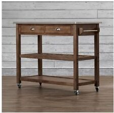 Rolling Kitchen Cart  - solid wood, stainless steel top, with storage