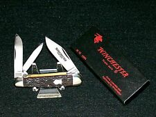 Winchester 3904 Knife Bone Stag 3 Spring Whittler W/Original Packaging Rare Set