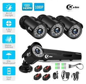 XVIM 1080P 4CH DVR Home Surveillance CCTV Kits Security Camera System IR Outdoor