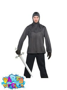 Mens Warrior Chain Mail Tunic and Hood Medieval Knight Fancy Dress Outfit