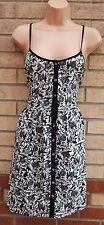 PRIMARK STRAPPY SILKY FEEL BUTTONED SKATER A LINE BLACK WHITE SUMMER DRESS 14 L