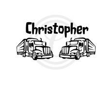 Custom Personalised Boys Name, 2 Trucks Wall Art Vinyl Sticker Decal Black(#639)