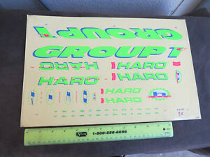 REAL HARO NOS DECALS GROUP 1C GREEN RARE SET STICKERS RACING FREESTYLE BIKE BMX