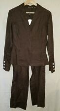 Caterina Lucchi Women Suit Brown 100% Linen 2 Piece Pant Jacket Blazer Size 8