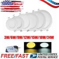 10X Round Recessed Flat LED Ceiling Panel Down Spot Light Lamp Bulb Fixture US