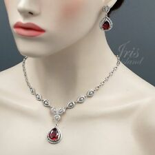 Rhodium Plated Red CZ Crystal Necklace Earrings Bridal Wedding Jewelry Set 01336
