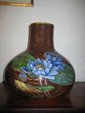 LARGE VICTORIAN PROBABLY ENGLISH POTTERY VASE AESTHETIC PAINTED WATER LILIES