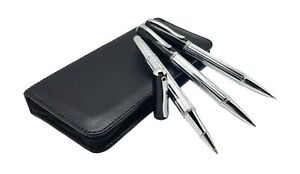 Deluxe Pen Set with real leather bag for roller pen, ballpoint and and pencil