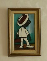 "Roy Reid 1937-2009 ""Short man in white"" original painting 2005 Jamaica signiert"