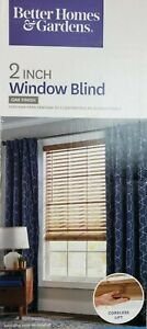 """Better Homes  Gardens 2-inch Cordless Faux Wood Blinds 47x64"""" Oak Finish New"""